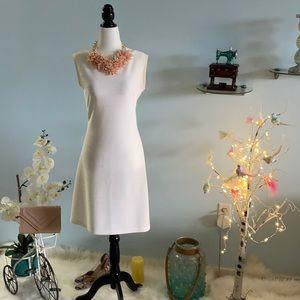 Off white  Plain striped  sleeveless dress V back